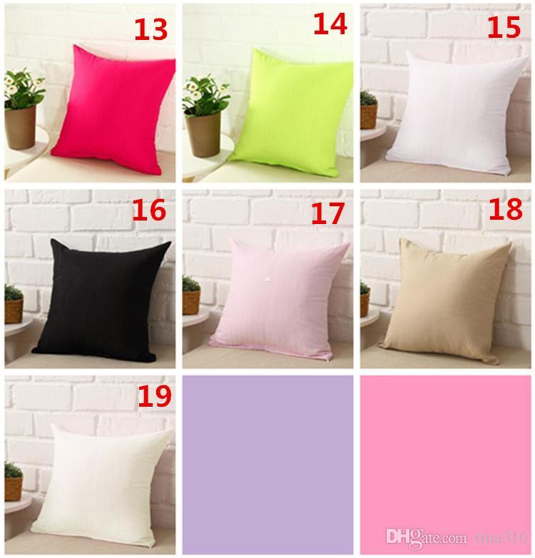New Pillowcase Pure Color Polyester Branco fronha capa de almofada fronha Decor em branco Natal Decor presente 45 * 45CM IB274