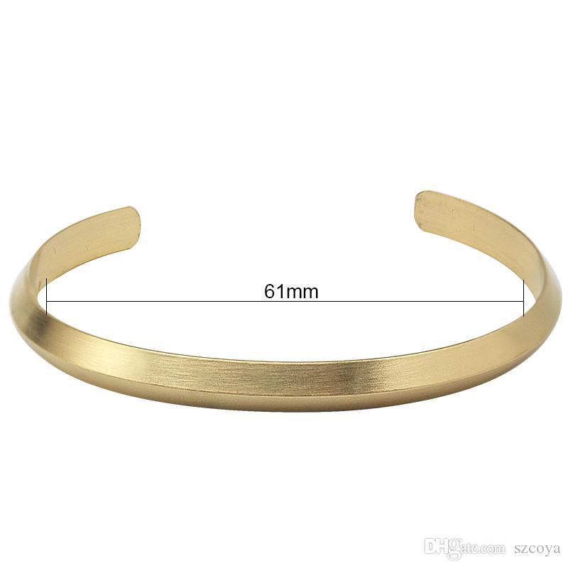 6mm wide Stainless Steel Bracelet & Bangle Gold Color Matte Cuff Bracelet Jewelry For Women 2017 New Design Hand Accessories