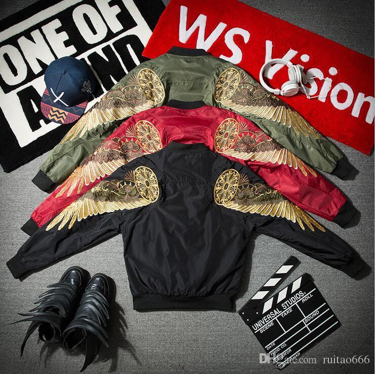 Европа и Соединенные Штаты Америки уличный прилив бренд Лон Дон мальчик yeezus мужчины и женщины любители крылья ангела вышивка Орел куртка бейсбольная одежда