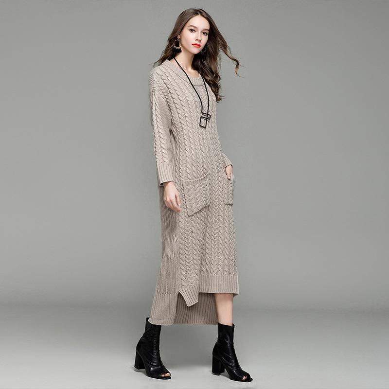 New Women Long Sweater Dress 2017 Autumn Winter Sexy Slim Dresses