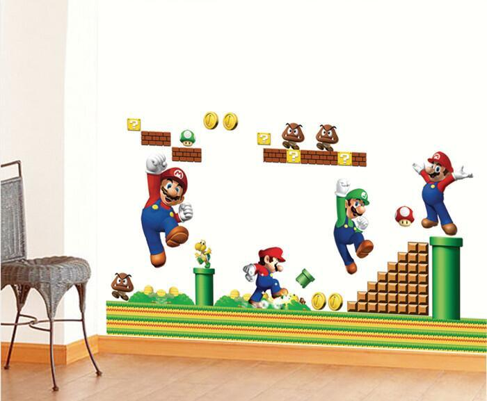 Super Mario Bros Boy Cartoon Wall Stickers Kids Rooms Vinly Bedroom  Decoration Decals Children Art Wallpapers Home Decor Mural Tree Wall Decor  Stickers Tree ...