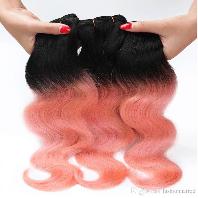 Ombre Brazilian Human Hair Weaves T1b Rose Gold Two Tone Body Wave Hair Bundles 8A Grade Virgin Hair Weaving Extensions