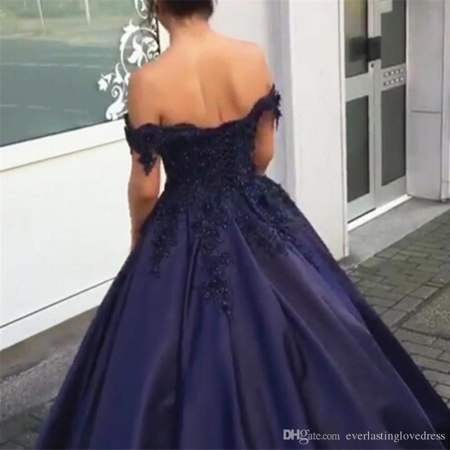 Navy Blue Ball Gowns Off Shoulder Prom Dress Engagement Dresses Applique Lace Corset Back Satin Evening Gowns