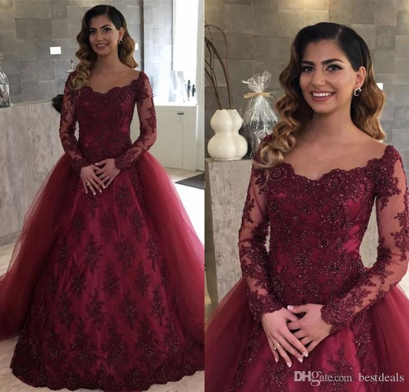 b464aff325 Illusion Neckline Burgundy Lace Long Sleeves Evening Dresses With Removable  Skirt Arabic Long Prom Party Gowns Vestidos De Fiesta Backless Evening Dress  ...