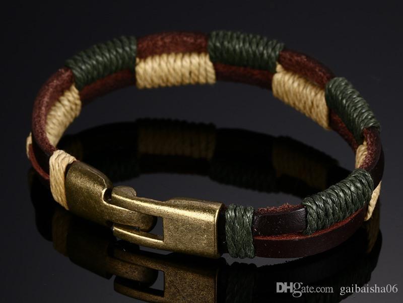 Pulsera tejida de doble cuero de cuero genuino para hombres en caqui marrón casual deportivo joyería de joyería.