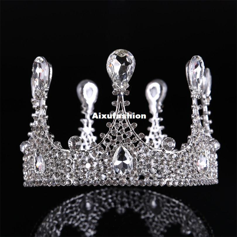 Baroque Plus Wedding Hair Jewelry Coronas 2017 Chic Regal Brillantes Rhinestones Tiaras Coronas Accesorios para el cabello nupcial tocados diadema
