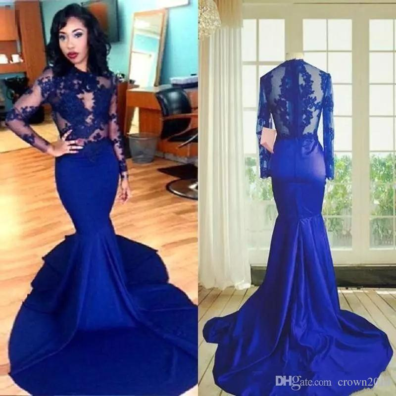 97f564f9d6df 2019 Long Sleeves Lace Mermaid Prom Dress Sexy Royal Blue High Neck See  Through Lace Appliques African Stretch Satin Party Evening Gowns Short Prom  Dresses ...