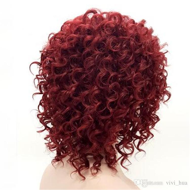 Rihanna gleiche Frisur Afro Verworrene lockige kurze Perücken für schwarze Frauen Burgundy 15 Zoll Weinrot Kunsthaar Perucas Perruque Afro Perucas