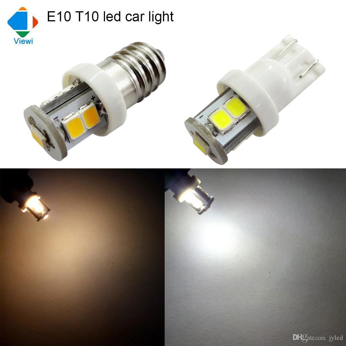 Viewi 20x E10 T10 Led Car Light Smd 2835 7leds Warm White Super