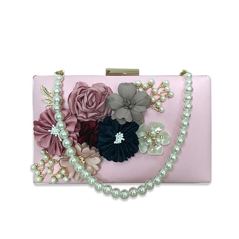 efdbdc94ebb340 Wholesale Fashion Flowers Lady Evening Clutch Bags Appliques Pattern Chain Women  Shoulder Bags Luxury Pearl Party Wedding Purses Handbag Silver Clutch ...