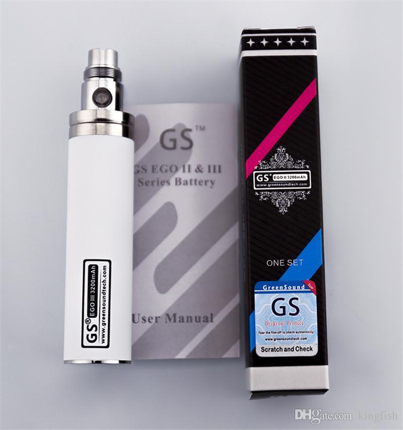 ego 3200Mah gran capacidad GS ego actualización de batería e cigarrillo evod batería Cigarrillo electrónico vaporizador pluma vapor 510 atomizador de hilo