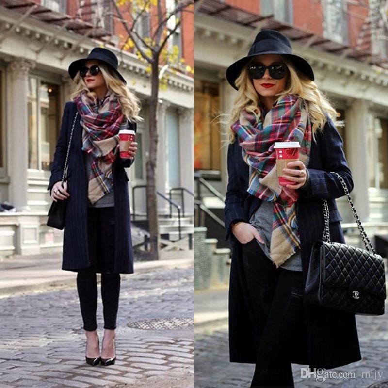 الشتاء وشاح 2017 ترتان الكشمير وشاح المرأة منقوشة بطانية وشاح جديد مصمم أكريليك الأساسية شالات المرأة والأوشحة