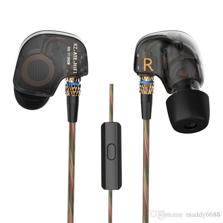 KZ ATE Cobre Controlador HiFi Sport Auriculares Tapones para los oídos En el oído Auriculares Correr Heavy Bass Micrófono Música Envío rápido