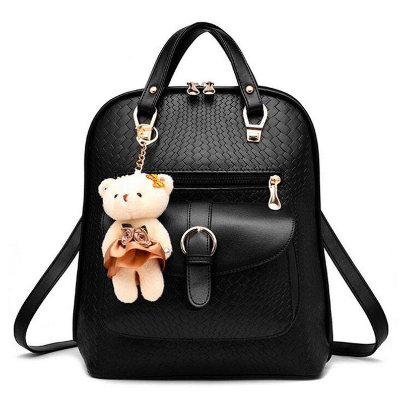 2017 Luxury Black Mini Backpack Women Fashion Bags Leather ...