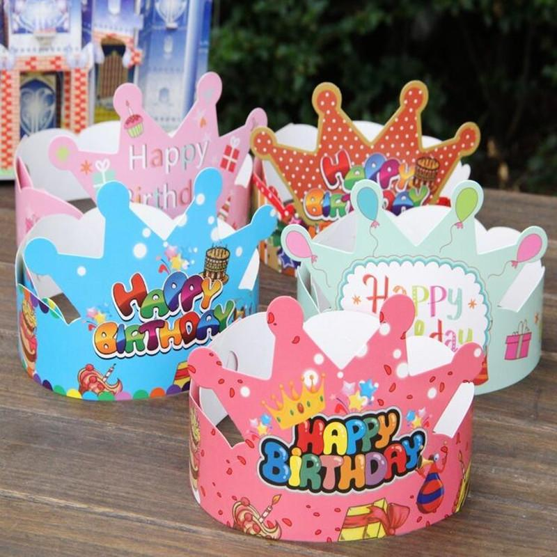 Wholesale Crown Birthday Hat Cartoon Paper Caps Headwear Gift Toys For Kids Party Celebrating Head Accessories 1st
