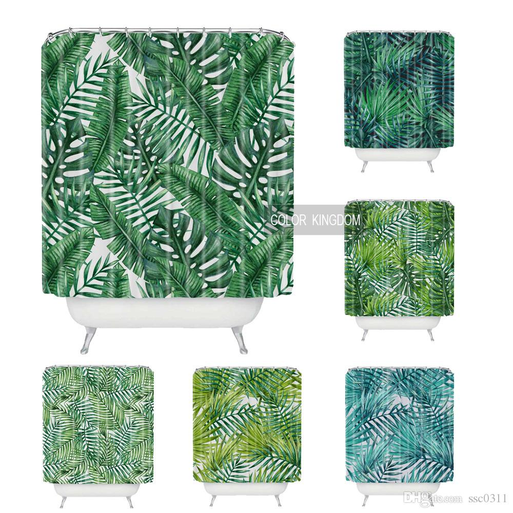 2018 Wholesale Comfortable And Simple Bath Curtain Green Plants Pattern Shower Curtains 180cm180cm Waterproof Bathroom From Ssc0311