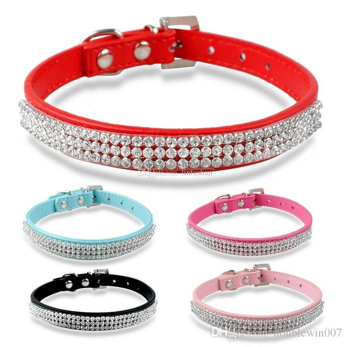 2017 Hot selling Rhinestone diamante dog collars fashion PU leather jewelry Pet collar Puppy Necklace 4 Sizes
