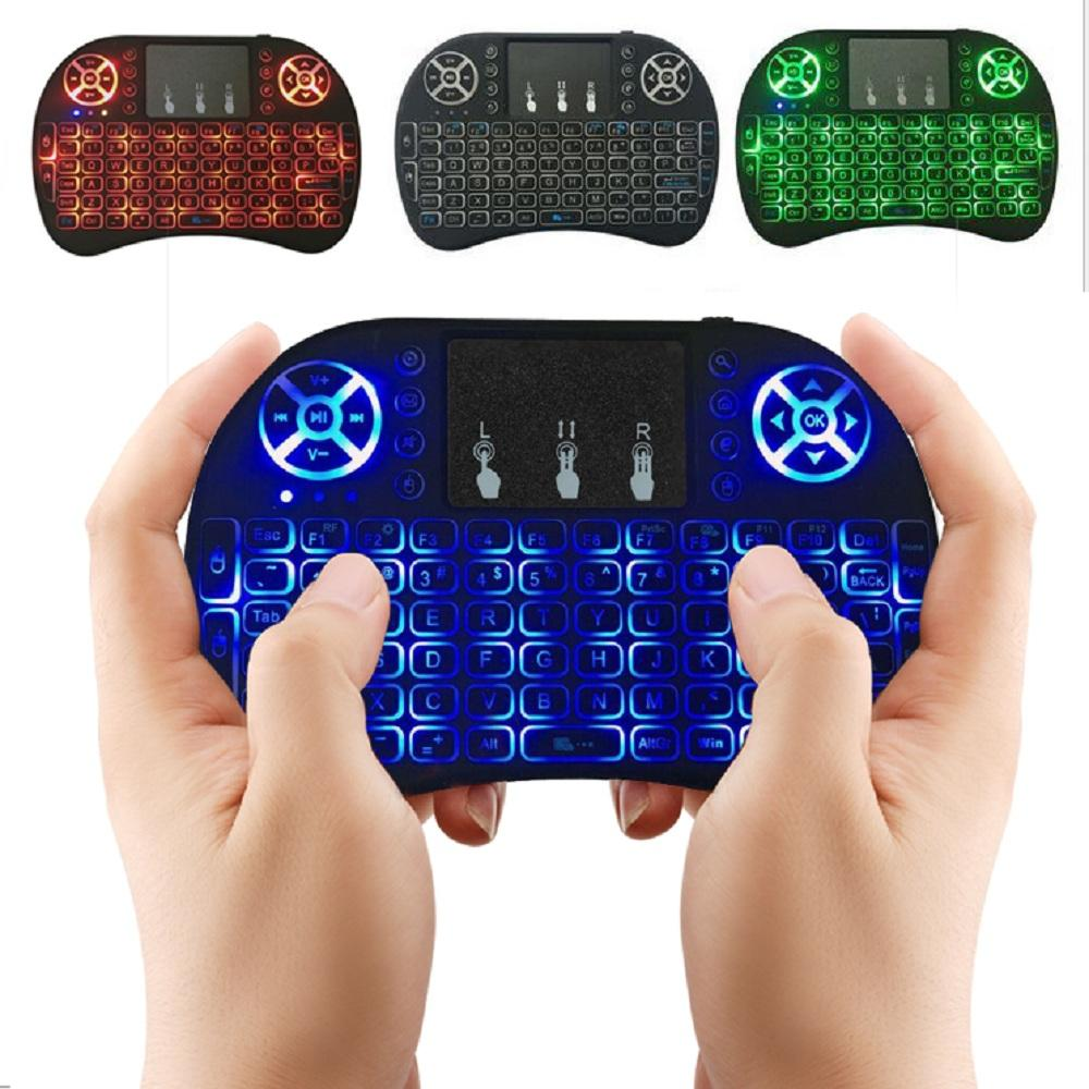 I8 Mini Wireless Keyboard 3 Colour Backlit 24ghz English Air Mouse Iron Man Game Remote Control Touchpad For Android Tv Box Tablet Pc Moq