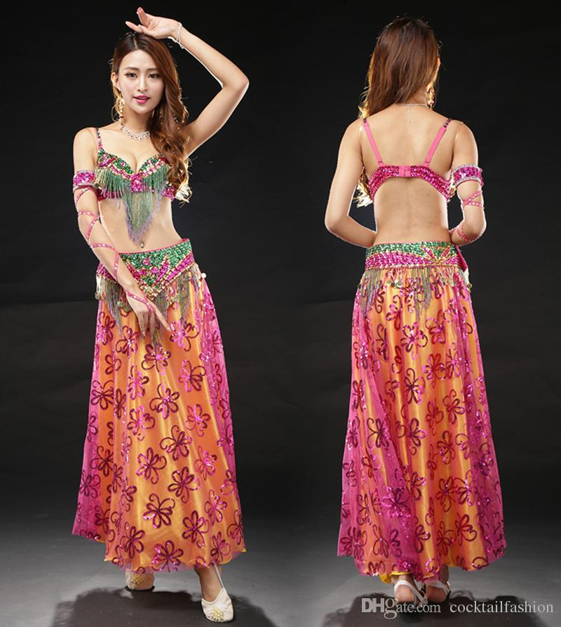 2019 Bollywood Dance Costumes Lady High Quality Bra\u0026Belt\u0026Skirt Flashing  Belly Dancing Wear Sexy Bellydance Skirt For Women From Cocktailfashion,