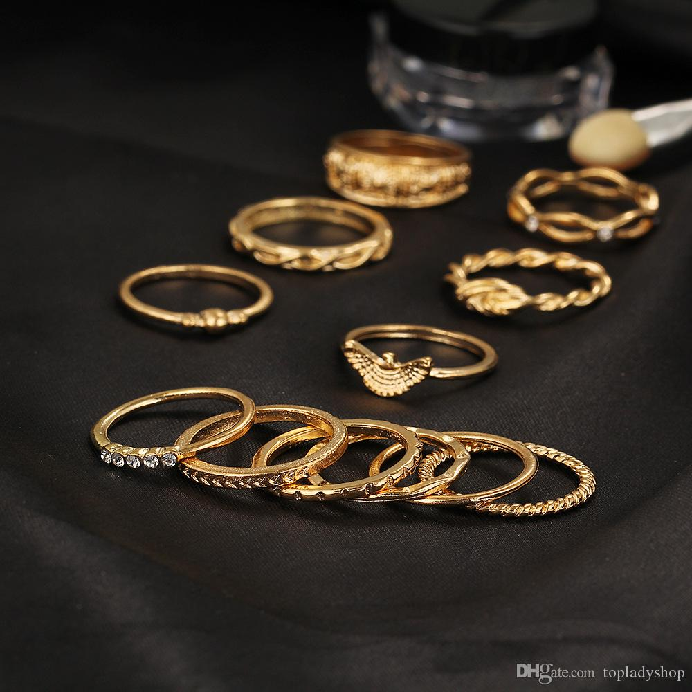 / Set conjunto de anillo de la junta Retro anillo de diamantes Doce Set Wrap anudado tallado anillos al por mayor envío gratuito