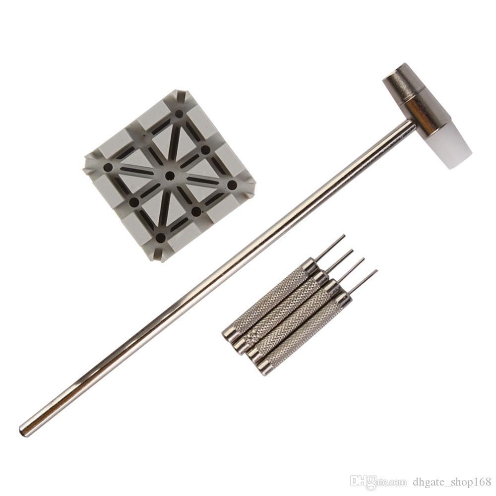 6 adet Watch Band Kayışı Kaldırma Bağlantı Pins Tutucu Punch Hammer Onarım Aracı Seti