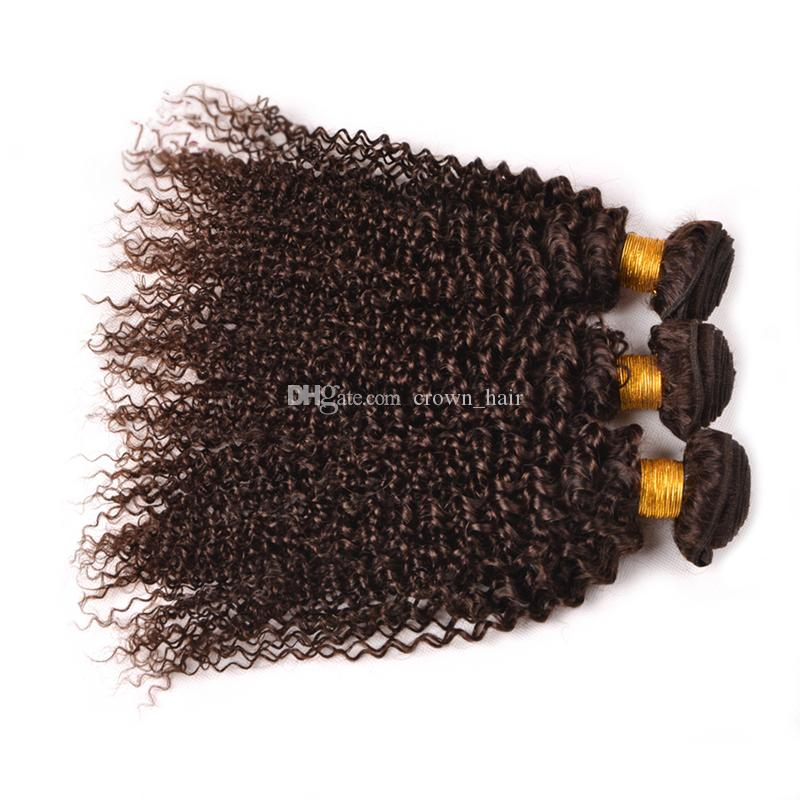 Peruano Castanho Escuro Kinky Curly Virgem Cabelo 3 Bundles 10-30 Polegada Cor # 4 Castanho Chocolate Kinky Curly Bundles Cabelo Para mulher Negra