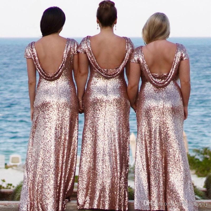 2018 Lange Brautjungfernkleider Pailletten Kurzarm Backless bodenlangen Brautjungfern Kleid Abendkleid Hochzeit Kleid