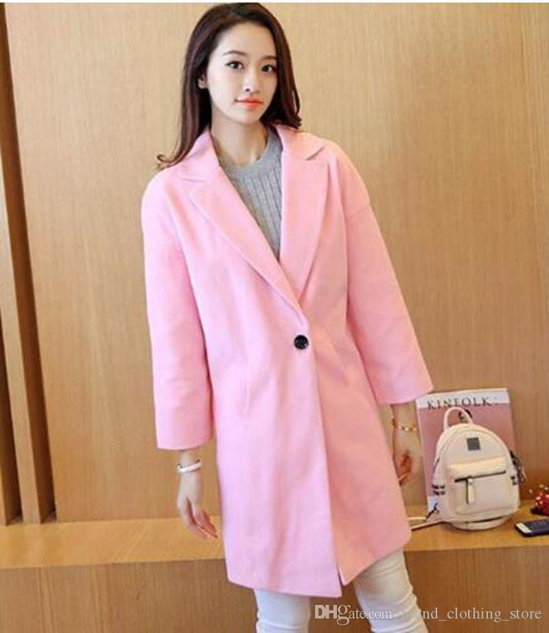 Women in the spring and autumn period and the han edition of high-grade large yards long show thin wool trench coat / S-XL