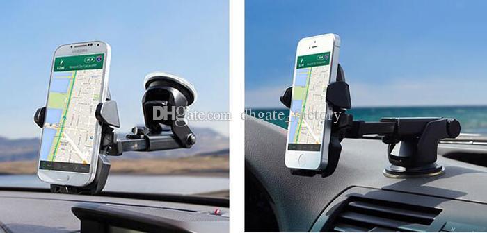 원터치 카 마운트 롱 유니버설 윈드 실드 대시 보드 휴대 전화 홀더 삼성 S8 Plus iPhone 7 plus의 강력한 흡입력