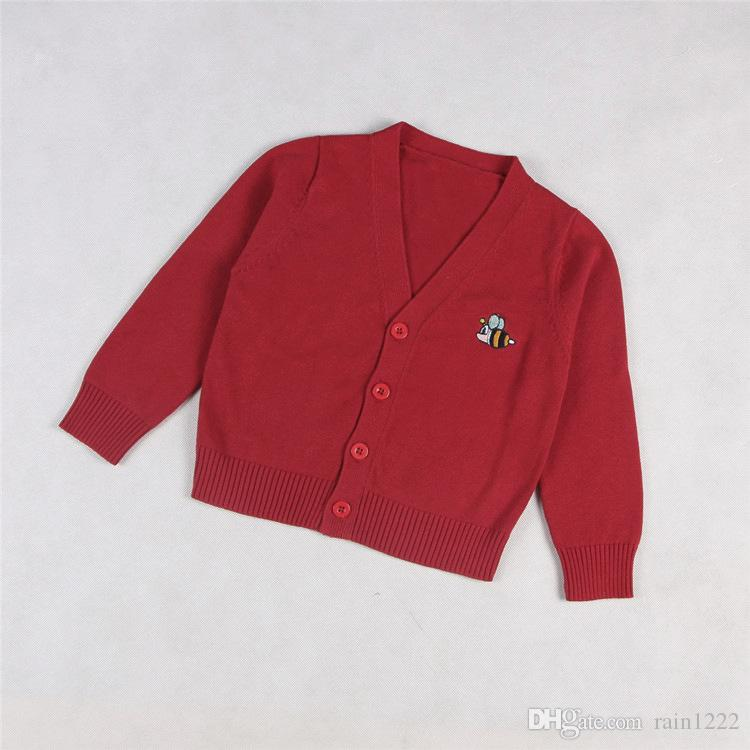 Children Knitted Sweaters Cardigan Girls Boys Cotton Bee Embroidery Pattern V-neck Knitted Cardigan Sweaters Kids Knit Sweaters Knitwear