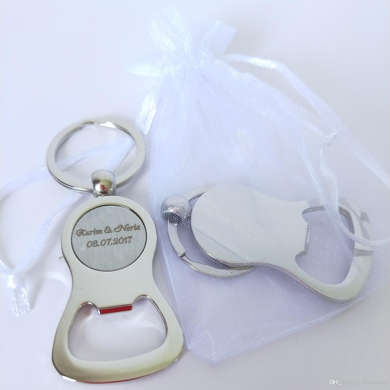 100 قطع شخصية حفل زفاف هدايا للضيوف مخصصة الزفاف تذكارية الصين المعادن فتاحة زجاجات المفاتيح دش الزفاف الإحسان