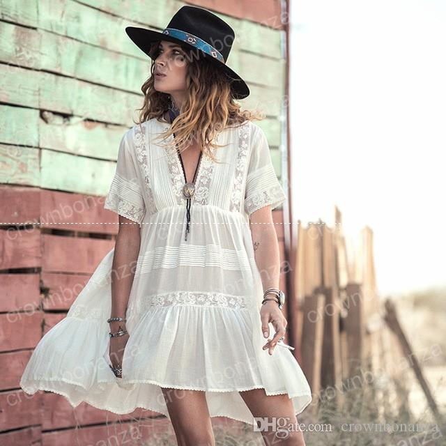f4daaa27515c5 Bohemian White Sweet Lace Dress Women's Beach Style Summer Dresses Short  Sleeve Lace Stitching Dress Pleated Holiday Loose Dress Lace Dress Online  with ...