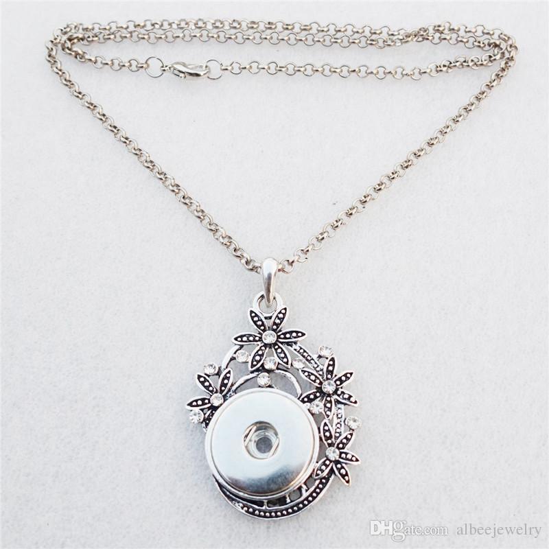 Moda 50cm maglia catena strass fiore cesto Noosa pezzi metallo zenzero 18mm bottoni a pressione ciondolo collana donne gioielli