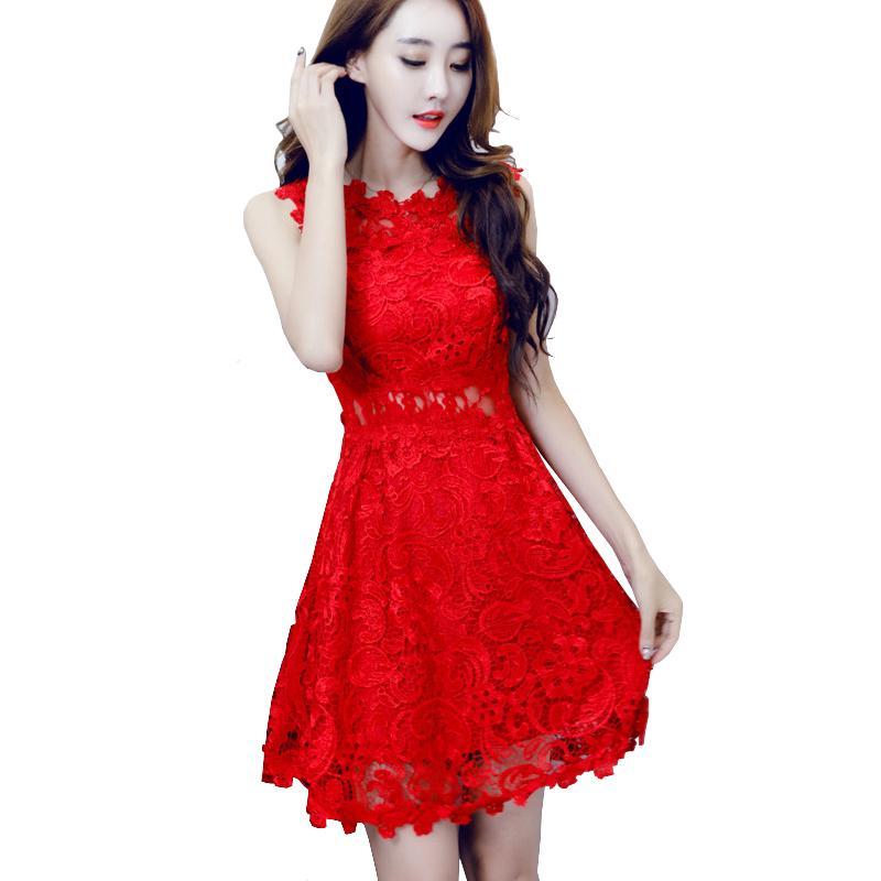 7115e0f9d Compre Agradável Mulheres Vestidos De Renda Vermelha Senhoras De Lua De Mel  Oco Out Crochet Curto Vestido Bordado Vestido Vermelho Robe Courte Dentelle  De ...