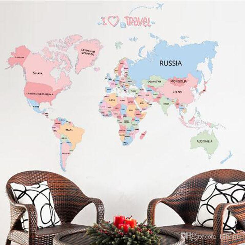 Colored letters world map diy vinyl wall stickers kids love home colored letters world map diy vinyl wall stickers kids love home decor office art decals creative wallpaper decoration tree wall stickers for bedrooms publicscrutiny Images