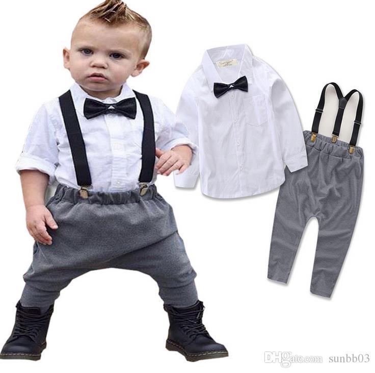 2017 весна осень младенческой мальчиков джентльмен набор дети галстук-бабочку белая рубашка + Подтяжк Брюки 2 шт. наряды Детская одежда костюм