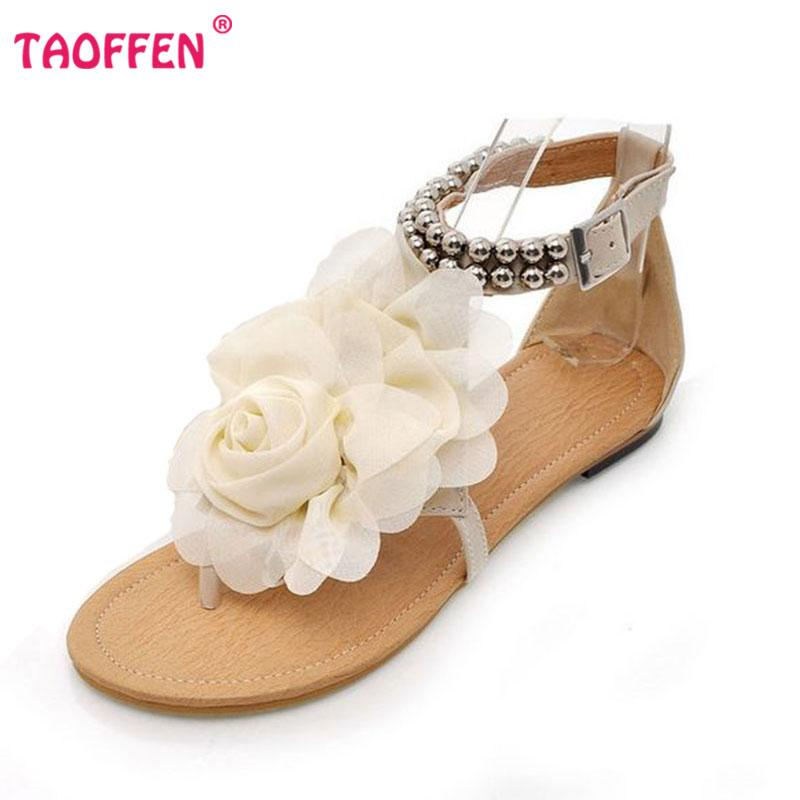 6ab40ec9bb42c0 Wholesale-Big Size 34-43 Gladiator Sandals Women Bohemia Beaded Summer  Flower Flat Heels Flip Flops Women s Shoes Tstraps Sandals P3311 Shoe Size  10 B Shoe ...