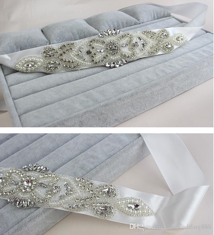 2019 Glitzernde Perlen Diamanten Kristall Braut Schärpen Hohl Hochzeit Gürtel Weiß Zubehör 5,5 cm * 28 cm Lange Braut Schärpe be19