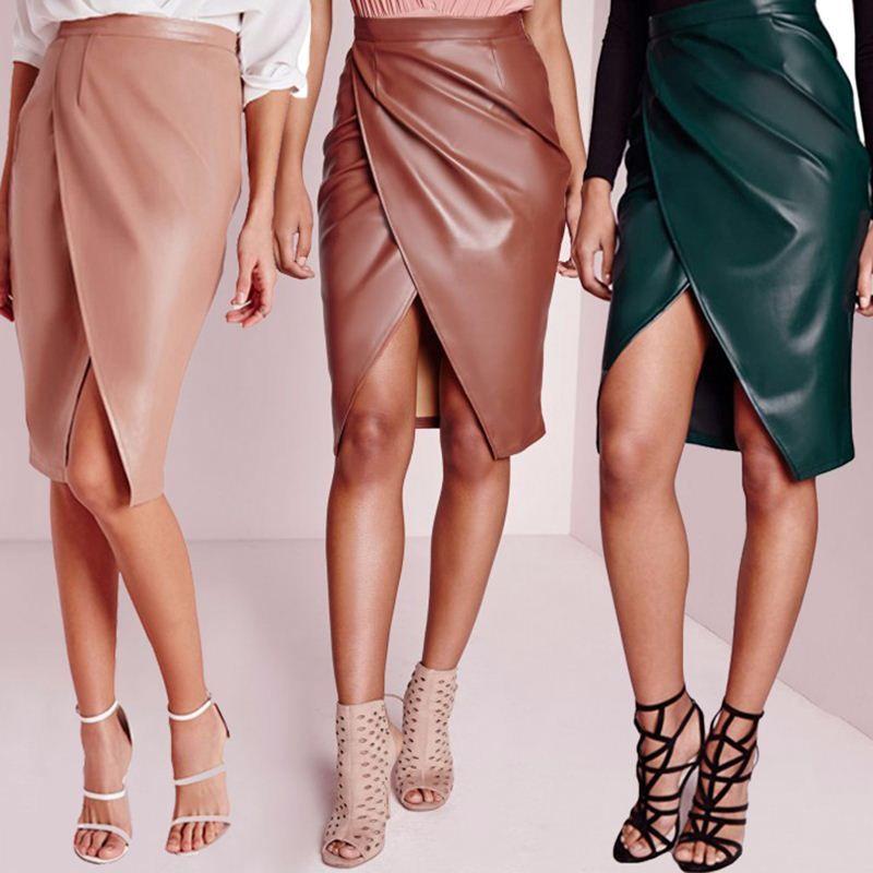 5d23e7f02e 2019 Skirts Womens Leather 2016 Spring Autumn PU Midi Skirt High Waist Work  Sexy Slit Club Wear Bandage Bodycon Pencil Skirt Vestidos From Havory, ...