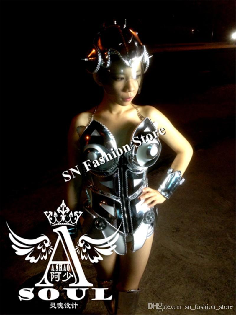 AS002 Ballsaal Silber Spiegel Kostüme / Tanzkleid BH Bühne Modell zeigen Kleidung bunte LED Lichtleiste DJ Disco Partykleid