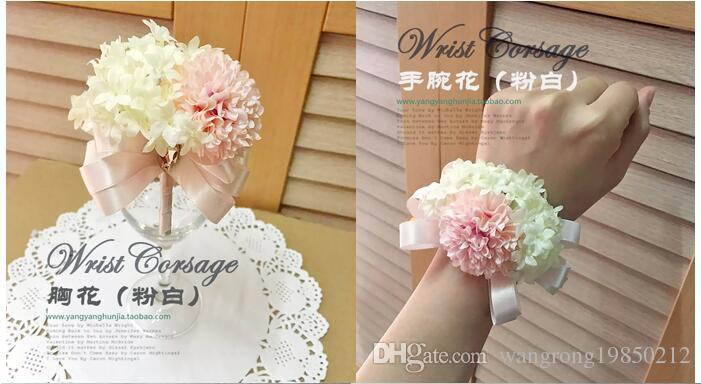 The bride brideroom corsages brooches the bride holding flowers bridemaid wrist flowers bouquets beach wedding bouquets
