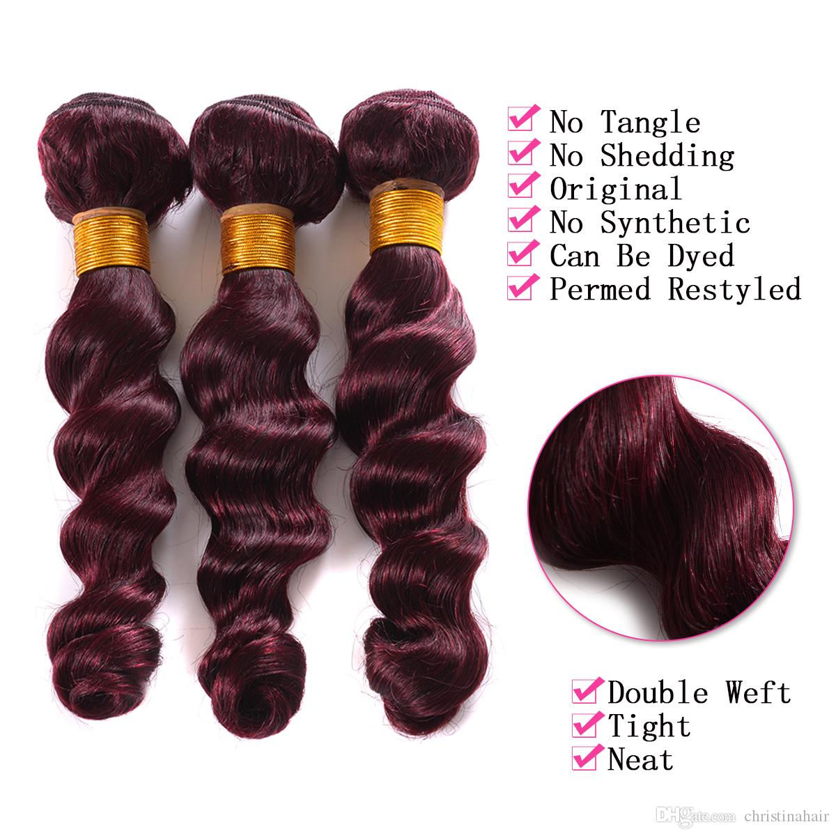 Burgundy 7A Brazilian Loose Wave Virgin Hair 3 Bundles With 4x4 Lace Closure Pure #99J Wine Red Human Hair Weaves With Lace Closure