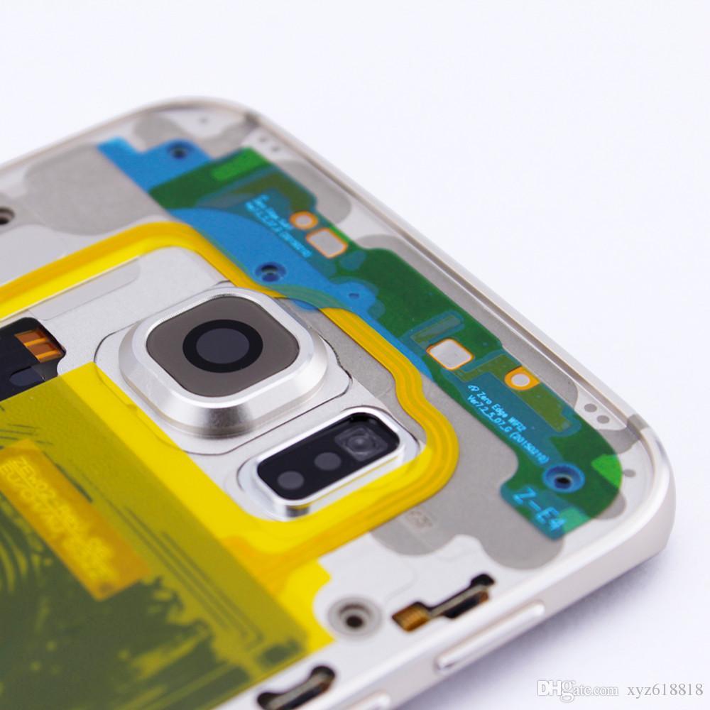 Средний Тарелка кадров Полный жилищно Лицевая панель Задняя крышка батареи Комплект чехол для Samsung Galaxy S6 края G925F Бесплатная доставка