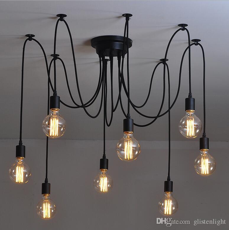 Mordern Nordic Led Bulb Light Ceiling Lights Vintage Loft Creating E27 Black Iron Art Lamp Fixture Light Living Bed Room Attic Last Style Lights & Lighting