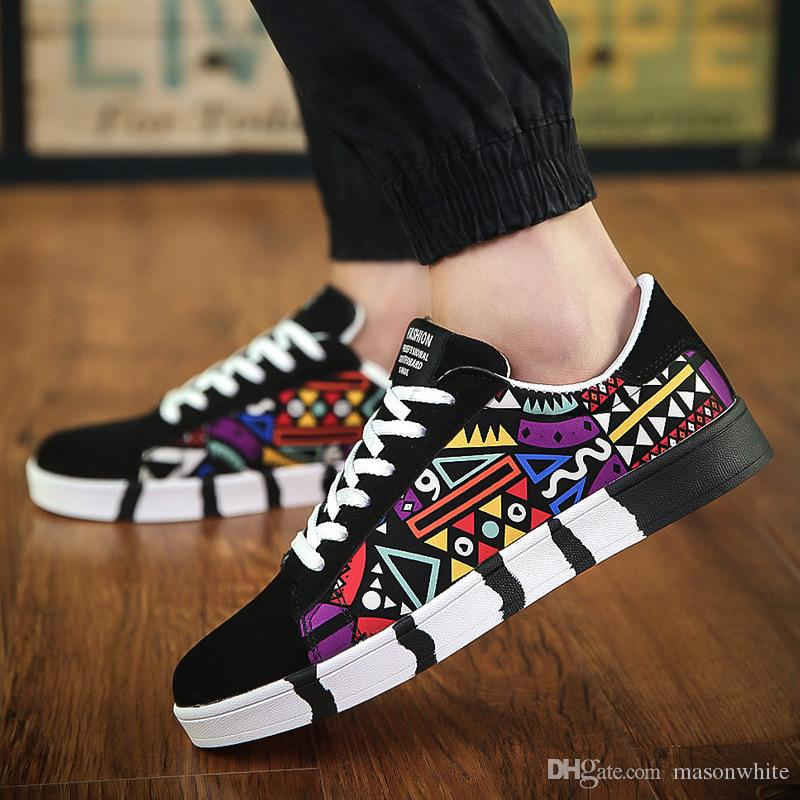 New Fashion Flats Canvas Shoes Men Boys Black White Casual Shoes Multicolor  Women Leisure Shoes Awesome Pattern Design Wholesale Price Cool Shoes Naot  Shoes ... 63fb96d0299
