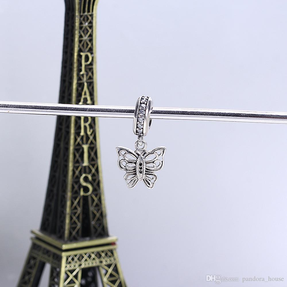 Réel 925 Sterling Argent Non Plaqué Papillon CZ Pendentif Charme Charmes Européennes Perles Fit Pandora Serpent Chaîne Bracelet DIY Bijoux