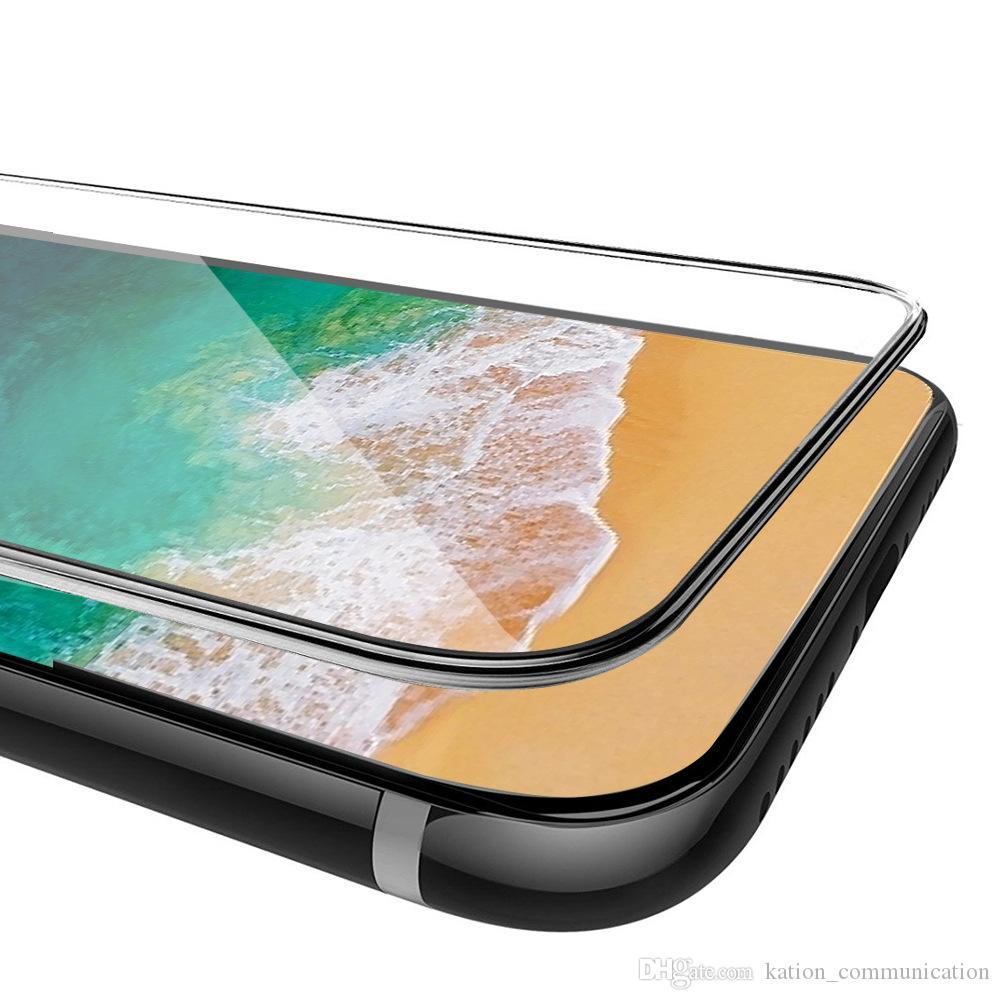 Dla iPhone X 8 8Plus 3D 4D Full Cover Color Hartred Szkło Soft Ekran Ochraniacz do iPhone8 7 Plus z pakietem skrzyni