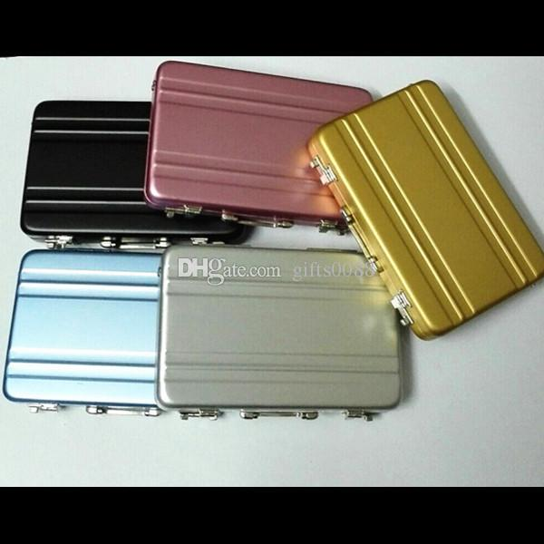 Vintage Mini Aluminum Briefcase Suitcase Business Name Credit Card Holder Case
