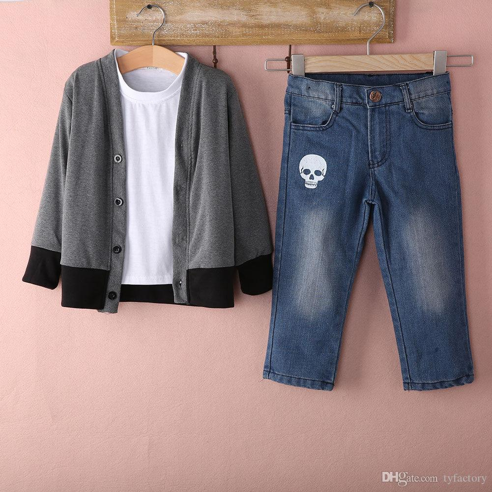 2017 Hot Selling Fashion Kids Clothing Baby Boys Clothes Top Coat + T-shirt + Denim Pants Outfits Sets 2-7T