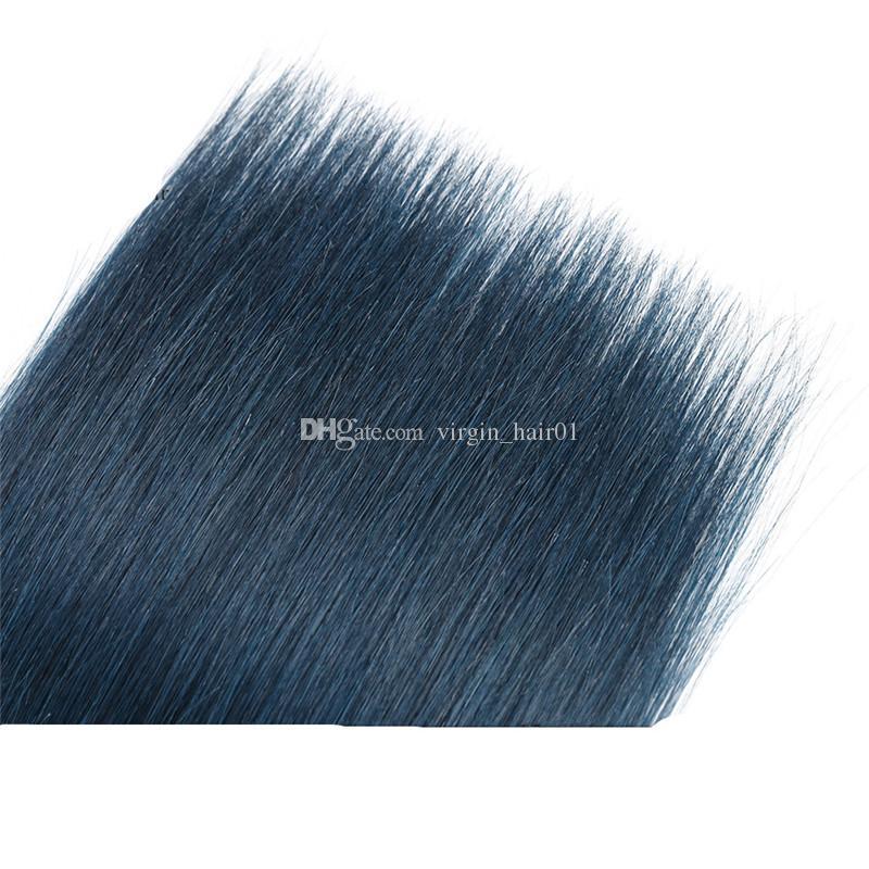 1B Bleu Foncé Ombre Vierge Brésilienne de Cheveux Humains Tisse Soie Droite Deux Tons Ombre Faisceaux de Cheveux Humains Offres Tangle Free